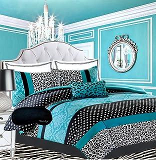 Teen Girls Bedding Damask Leopard Comforter Twin Twin Xl Bedspread Black White Teal Aqua Blue