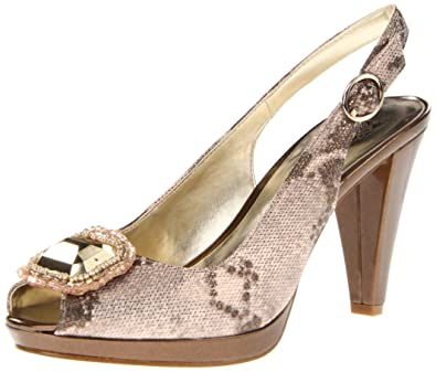 AK Anne Klein Women's Ellynne Synthetic Platform Pump Taupe Multi Size 10.0
