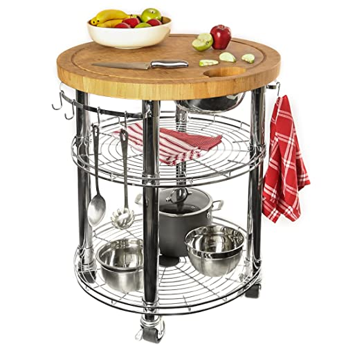 Seville Classics Rolling Solid-Bamboo Butcher Block Top Kitchen Island Cart with Storage, 30 Diameter x 36 H