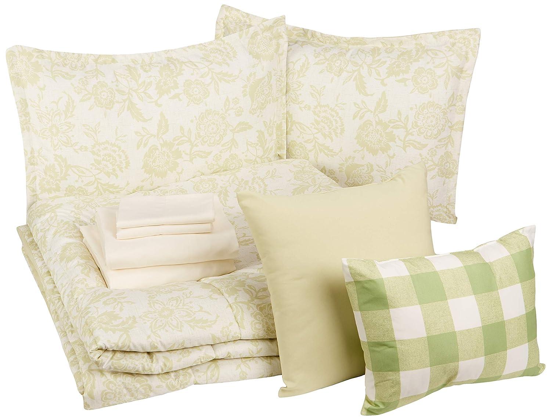 AmazonBasics 10-Piece Comforter Bedding Set, Full / Queen, Green Vintage Floral, Microfiber, Ultra-Soft
