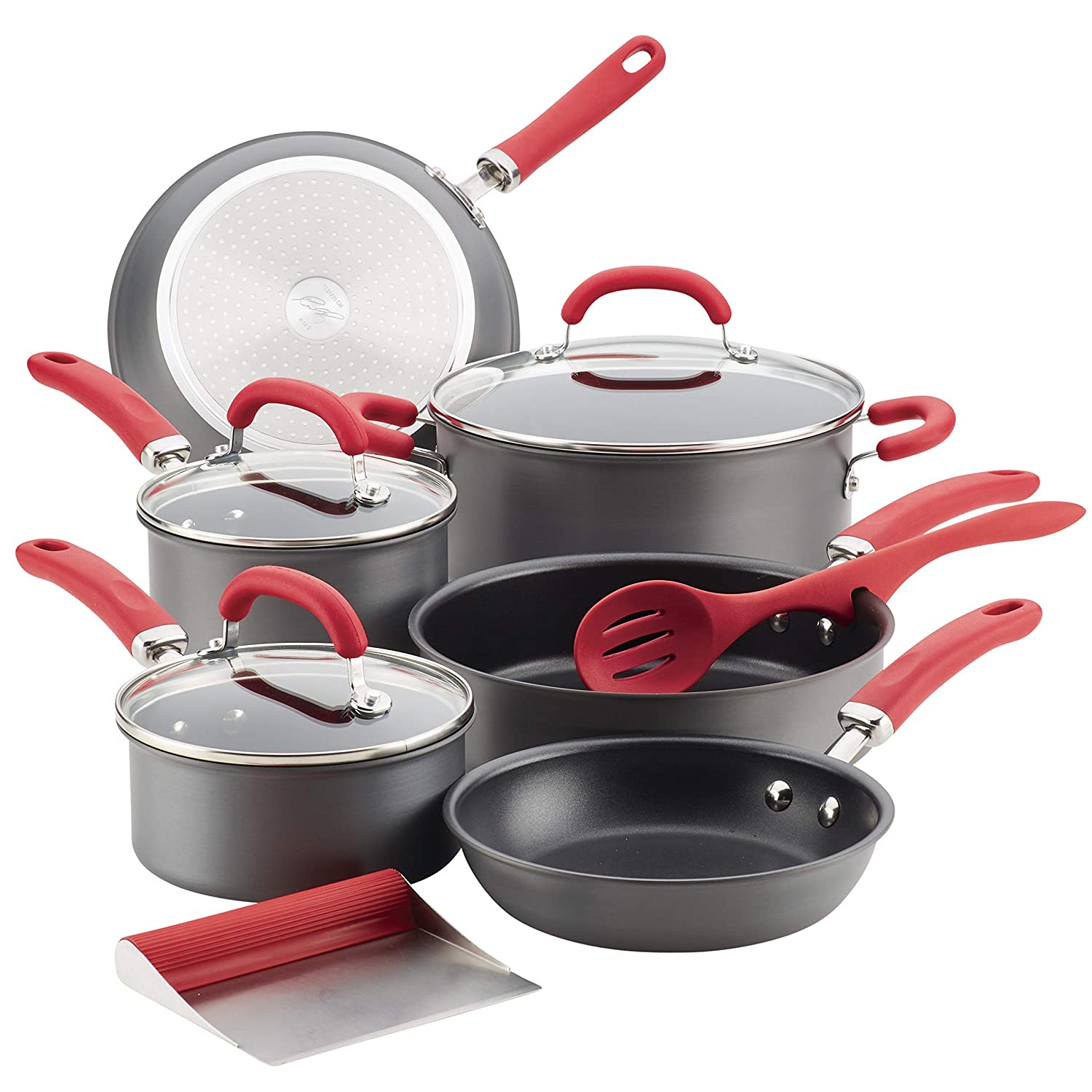 Rachael Ray 81157 11-Piece Hard Anodized Aluminum Cookware Set, Gray with Red Handles