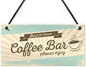 XLD Store Coffee Bar Hanging Wall Plaque Home Decor Kitchen Cafe Sign Gifts for Women