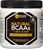 Natural BCAAs with Beta-Alanine: 2:1:1 Pharmaceutical Grade Branch Chain Amino Acids For Increased Muscle Development and Endurance, Made With 100% Botanical Ingredients. 120 Capsules.