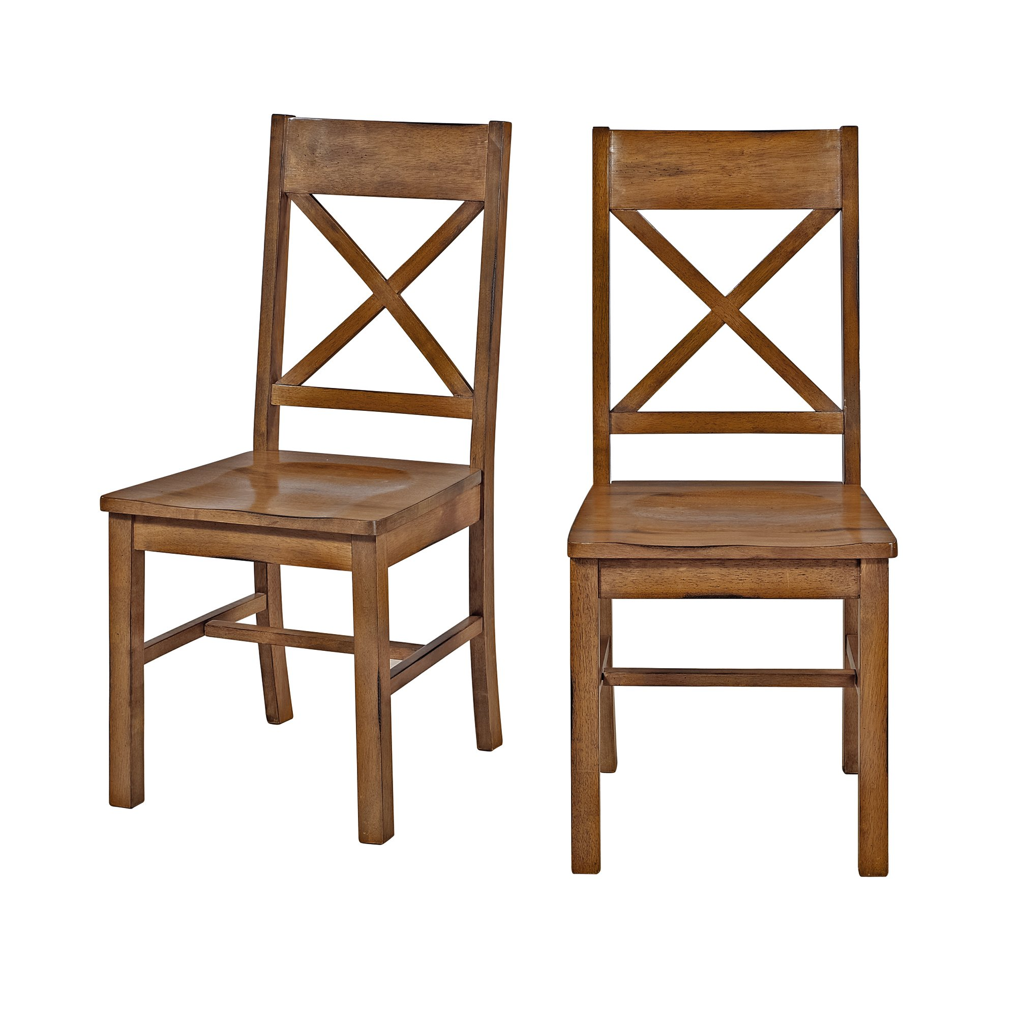 Solid Wood Antique Brown Dining Chairs, Set of 2 by WE Furniture