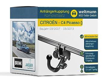 Weltmann Mundo Muñeco AHK Juego Completo Citroën C4 Picasso Brink Desmontable Remolque + fahrzeugspezifischer Jaeger Automotive eléctrico de 13 Pines: ...