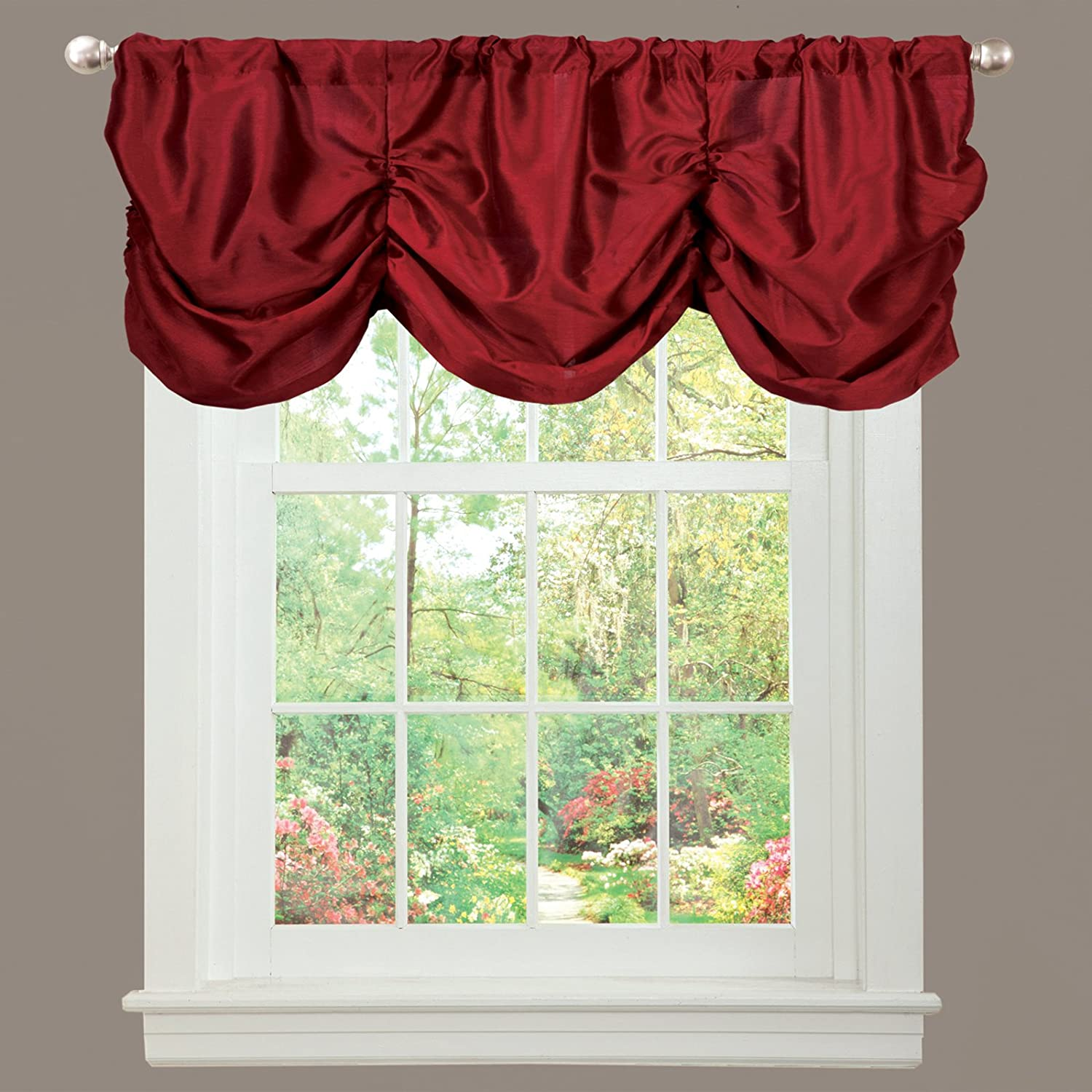 Amazon Lush Decor Estate Garden Valance Red Home Kitchen