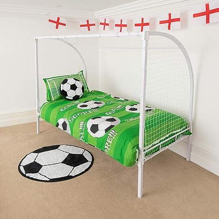 Christow Kids Football Goal Single Bed Frame Metal Post Net Soccer