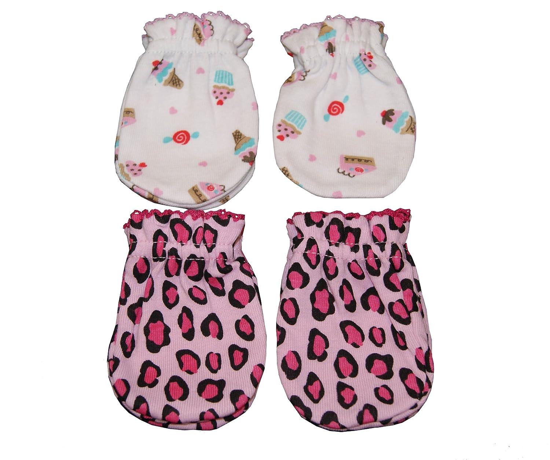 Cupcake 4 Pairs Cotton Newborn Baby//infant No Scratch Mittens Gloves Leopard
