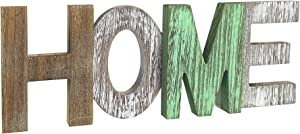 MINCORD Rustic Wood Home Sign, Decorative Word Signs, Freestanding Wooden Letters, Rustic Home Signs for Home Cutout Word Decor, Multicolor