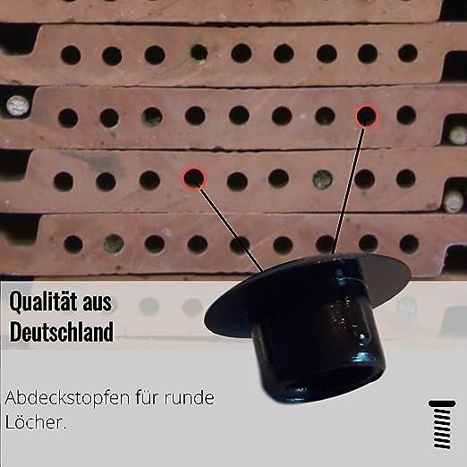 100 St schwarz f/ür Bohrungen Abdeckstopfen Kunststoff