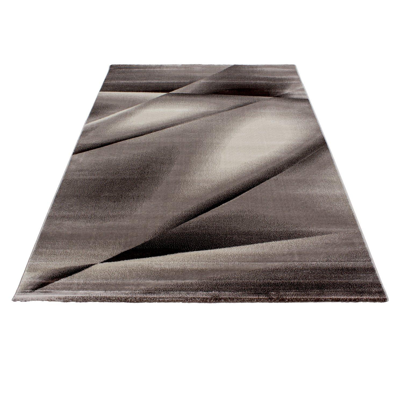 Tappeto dal design moderno Rettangolo per il soggiorno Facile manutenzione Linee astratte Marrone, Maße:80x150 cm Teppium