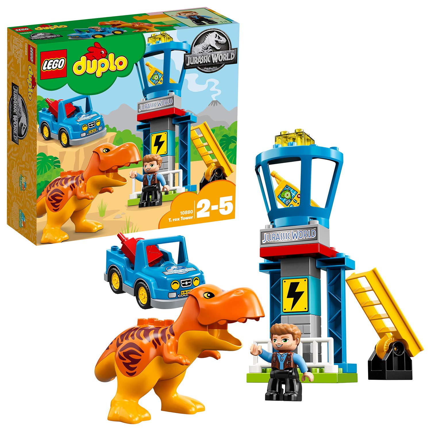 LEGO 10880 DUPLO Jurassic World T  rex Tower Owen Grady Minifigure Owen  Grady Minifigure, Dinosaur Figure, and Toy Car Building Set for Preschool  Kids