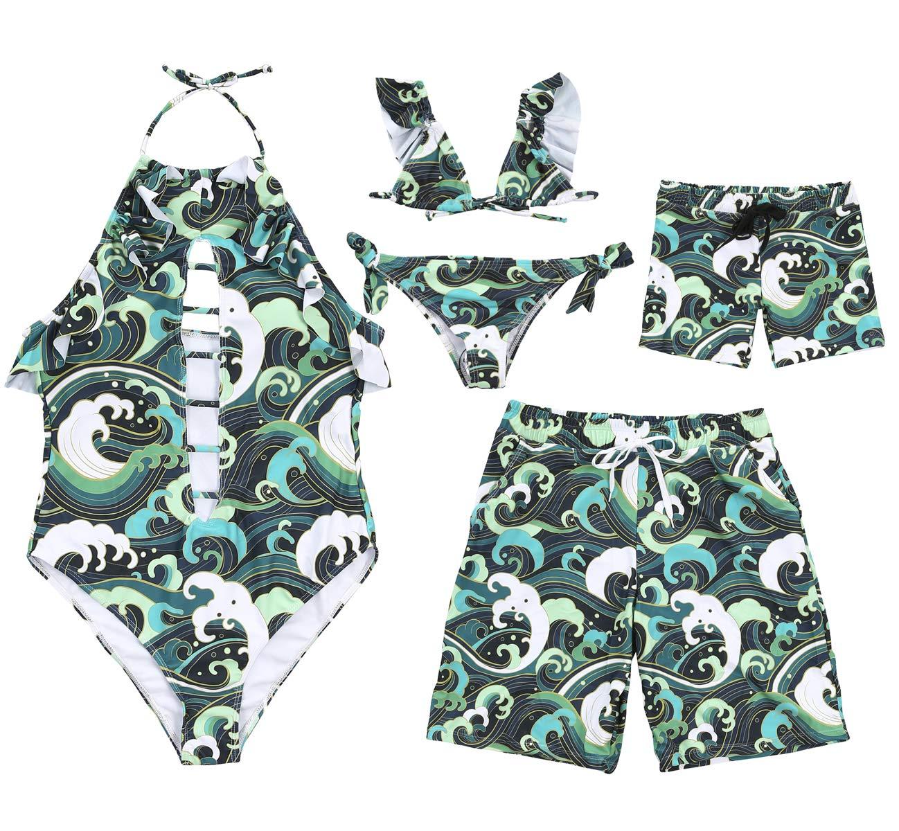 Family Matching Sea Wave Print Green Beachwear Mommy&Me Halter Neck V-Neck Monokini Bikinis Daddy&Me Swim Shorts (Boy, Boy 5T)