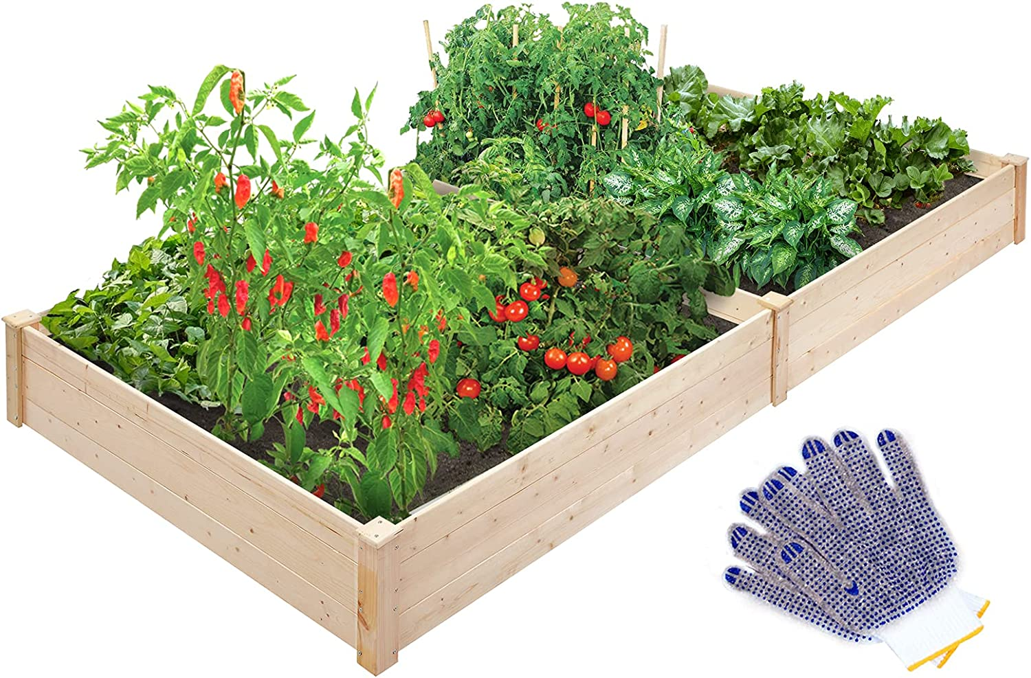 TMEE Raised Garden Bed Wooden Elevated Planter Garden Box for Vegetable Flower Herb Outdoor Solid Wood 92.5'' x 47.2'' x 10.2'' inches
