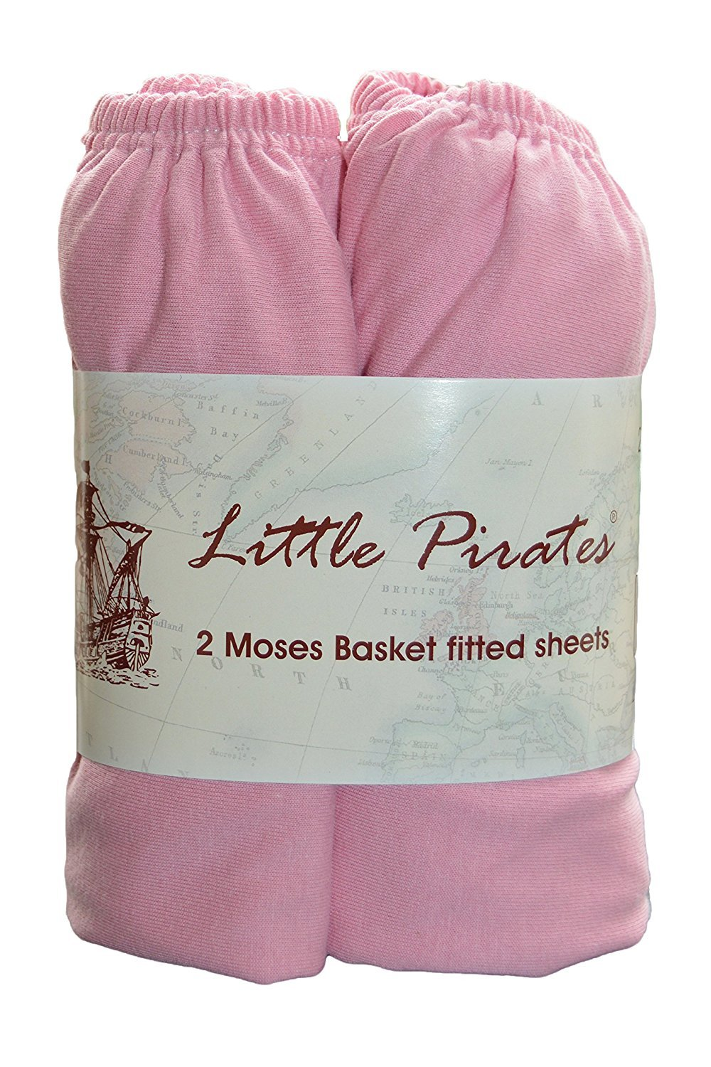 2 x Baby Pram/Crib/ Moses Basket Jersey Fitted Sheet 100% Cotton Pink 30x75cm Little Pirates