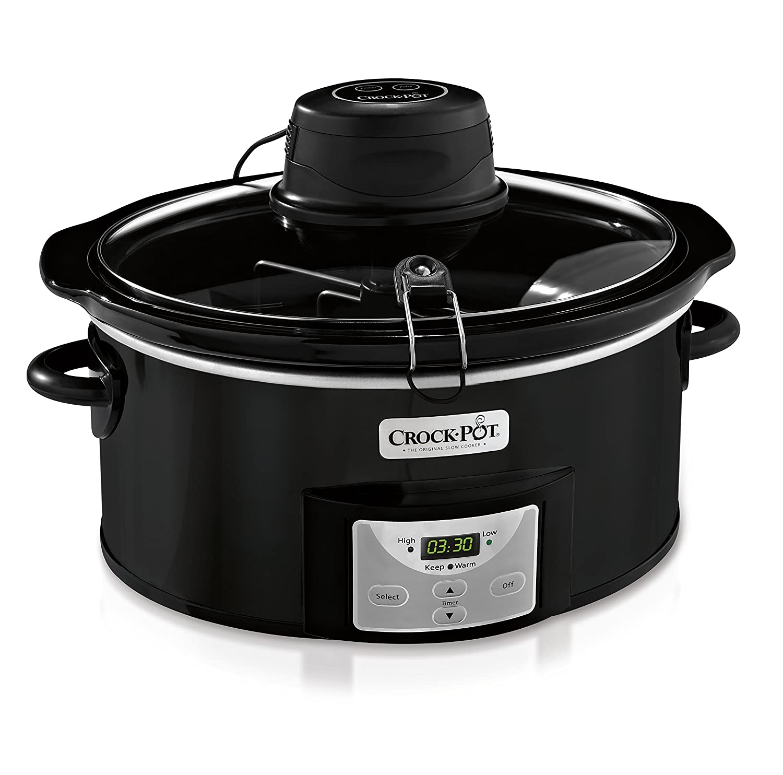 Crock-pot SCCPVC600AS-B 6-Quart Black Oval Programmable Digital Slow Cooker, Auto Stir System
