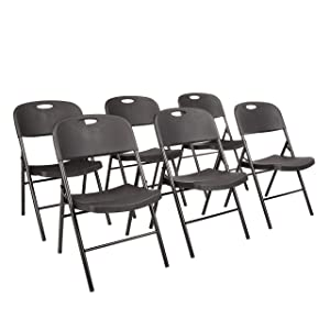 AmazonBasics Folding Plastic Chair, 350-Pound Capacity, Black, Set of 6