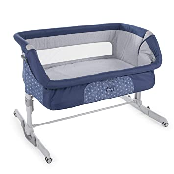 "Chicco 2019 Side Sleeping Crib Next2Me Dream"" Navy"" Baby Side Sleeping Crib Swing Function"