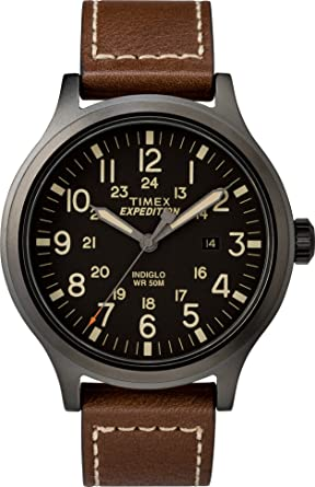 75b6e1b0a Timex Men's TW4B11300 Expedition Scout 43 Brown/Black Leather Strap Watch