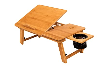 Stock Harbor Laptop Lap Desk, Bed Tray Of Sturdy Bamboo With Heavy Duty  Drink Storage