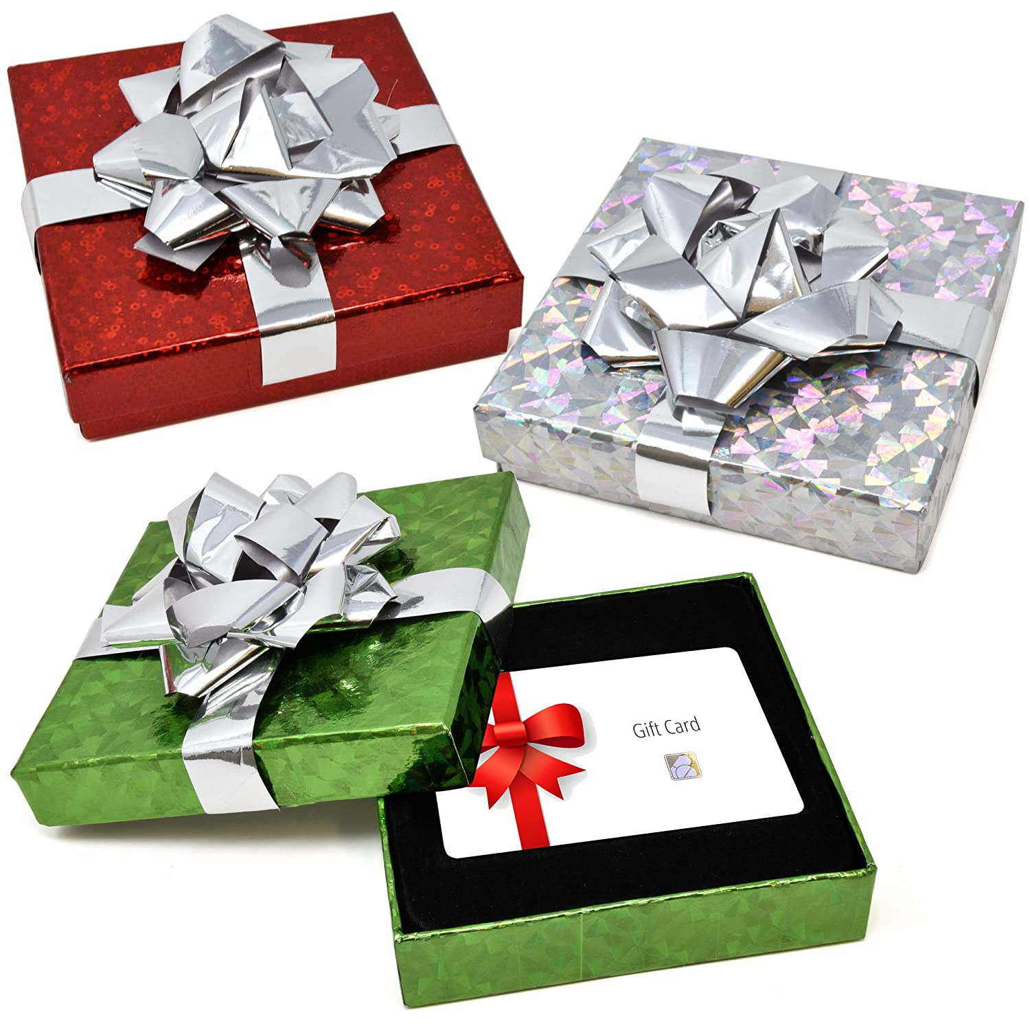 Christmas Gift Card Holder Boxes Holiday Money Card Holders Party Favor Dé cor, Pack Of 6 Assorted Red Green And Silver Present Box With Bow By Gift Boutique