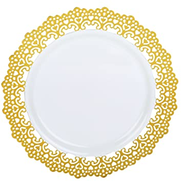 Premium Decorative Plastic Dinnerware Plates 10 Inch Round Dinner Plate 12 Pack Gold Rimmed