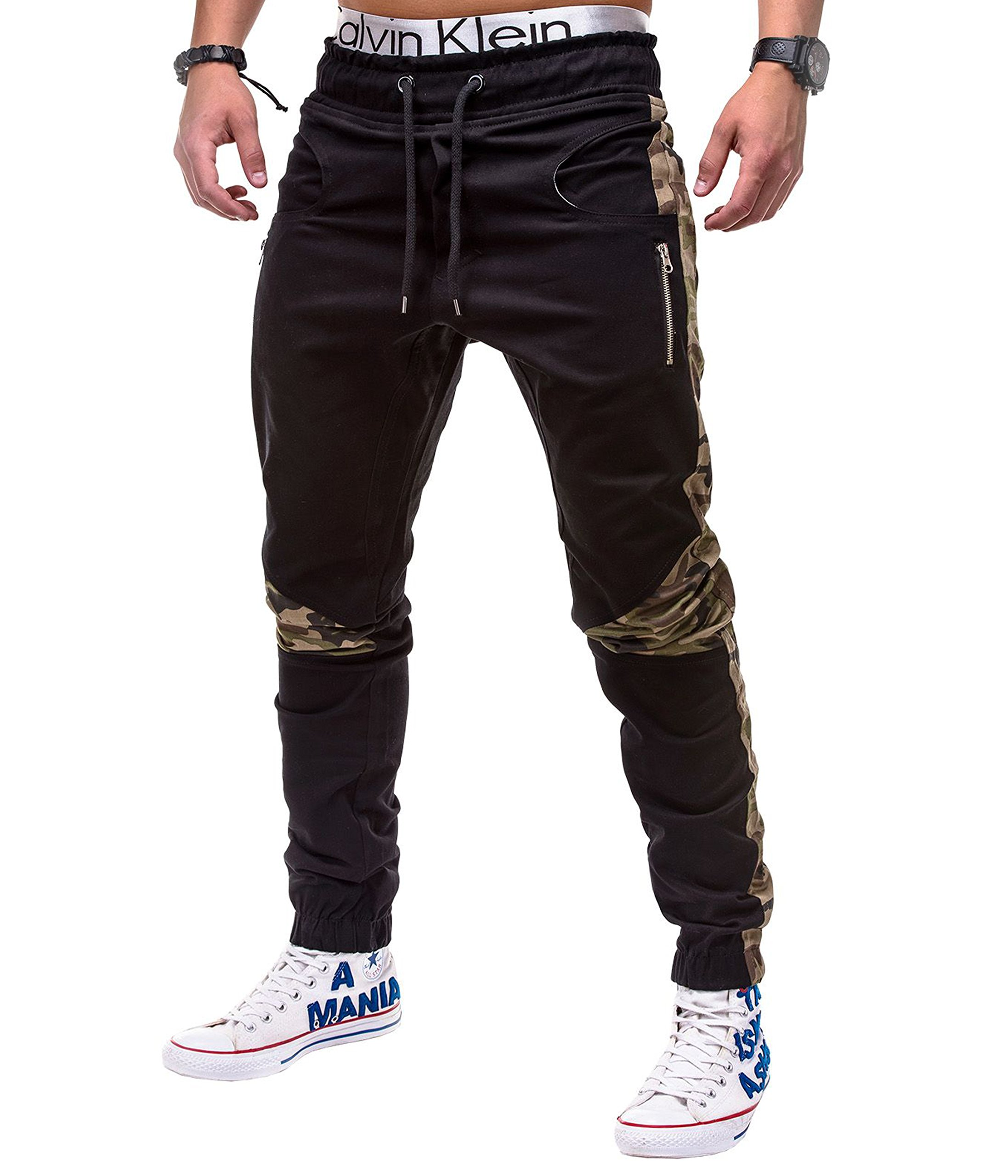 BetterStylz DixonBZ Men´s Chino Jogger Trousers Pants Camouflage Army DIV. Colors (S-3XL) (30-40) (Large, Black/Camoflage)