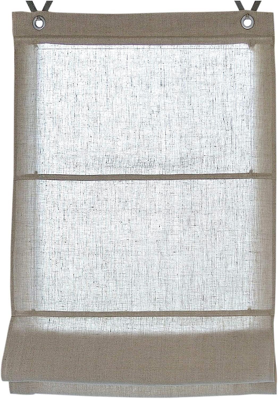 45//60//80//100 * 140cm Blanc//Naturelle Rollos /& More Store Bateau Metis Oeillets 100/% Lin Environ. 45 * 140 cm, cr/ême