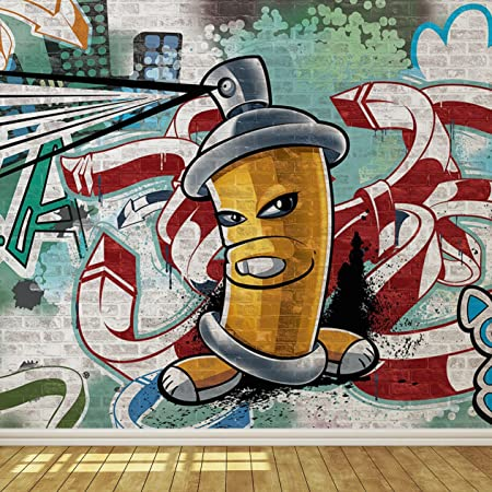 cool graffiti spray can 3 wallpaper mural amazon co uk diy tools