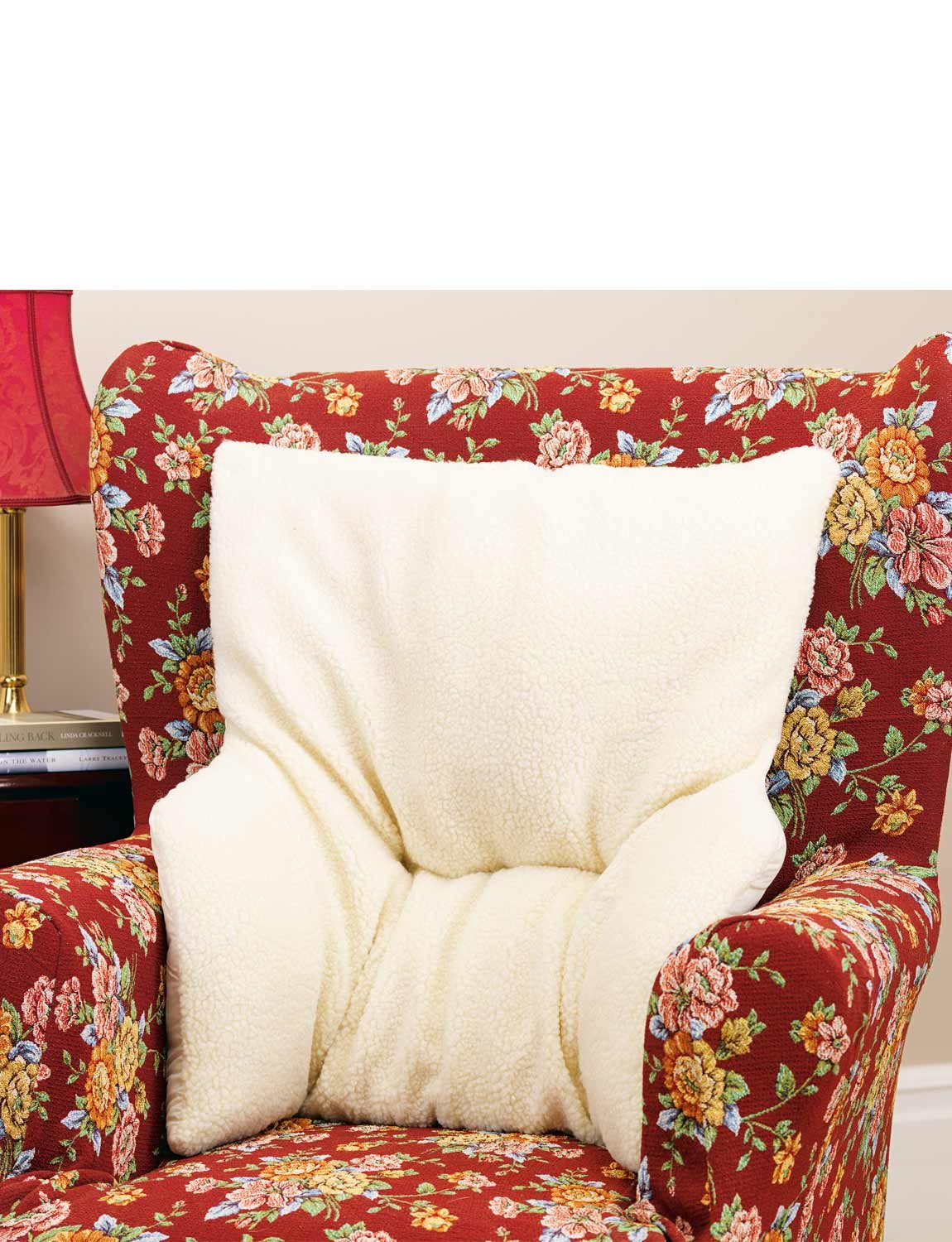 Armchair Fleece Back Rest Lumbar Support Aid Cushion Relieve Pain Beige Deluxe Easylife