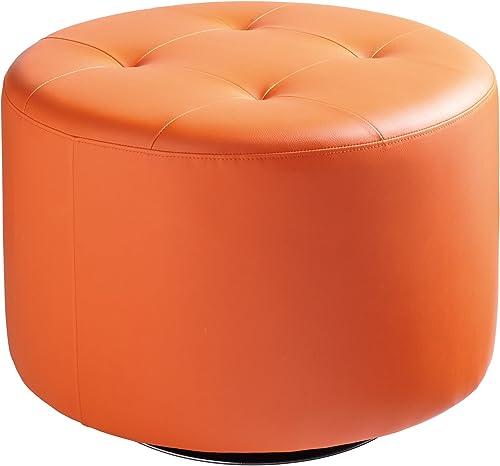 Sunpan Modern Domani Swivel Ottoman, Large, Orange