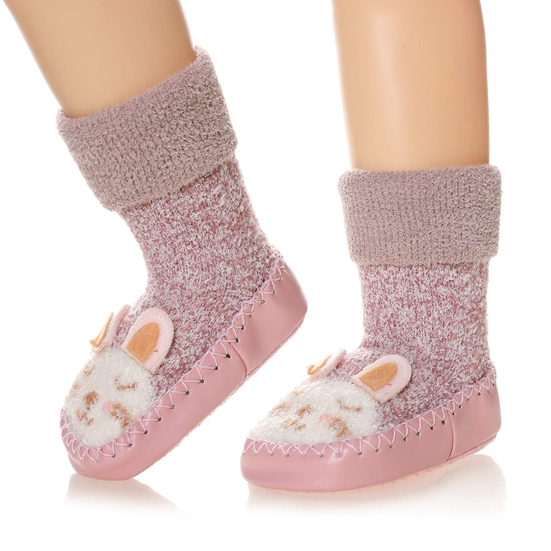 Eocom Baby Boy Girls Toddlers Christmas Gift Moccasins Non-Skid Indoor Slipper Winter Warm Shoes Socks