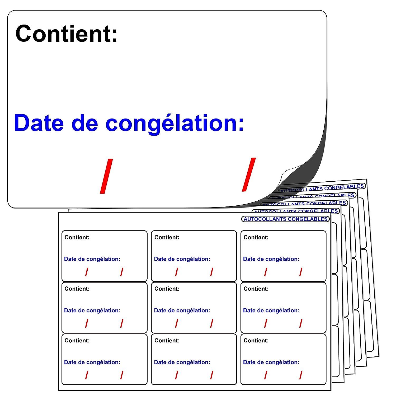 144x grands (64x38 mm) AUTOCOLLANTS CONGELABLES. « Contient: Date de congélation: » Compatibles avec tout stylo ou stylo à bille standard. Label Create