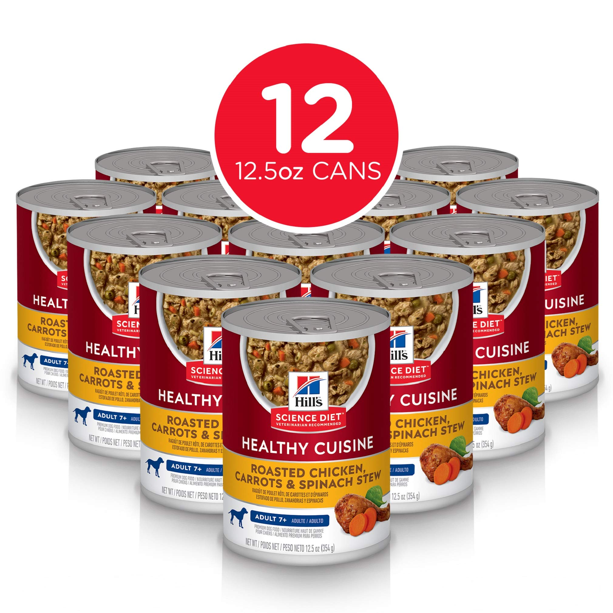 Hill's Science Diet Wet Dog Food, Adult 7+ for Senior Dogs, Healthy Cuisine, Roasted Chicken, Carrots, & Spinach Recipe, 12.5 oz Cans, 12 Pack by Hill's Science Diet