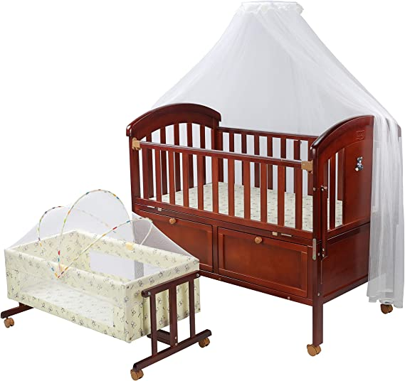 Luvlap C-90 Baby Wooden Cot with Detachable Newborn Cradle (Cherry-Red)