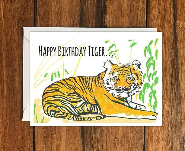 Happy Birthday Tiger Greeting Card A6 Amazon Handmade