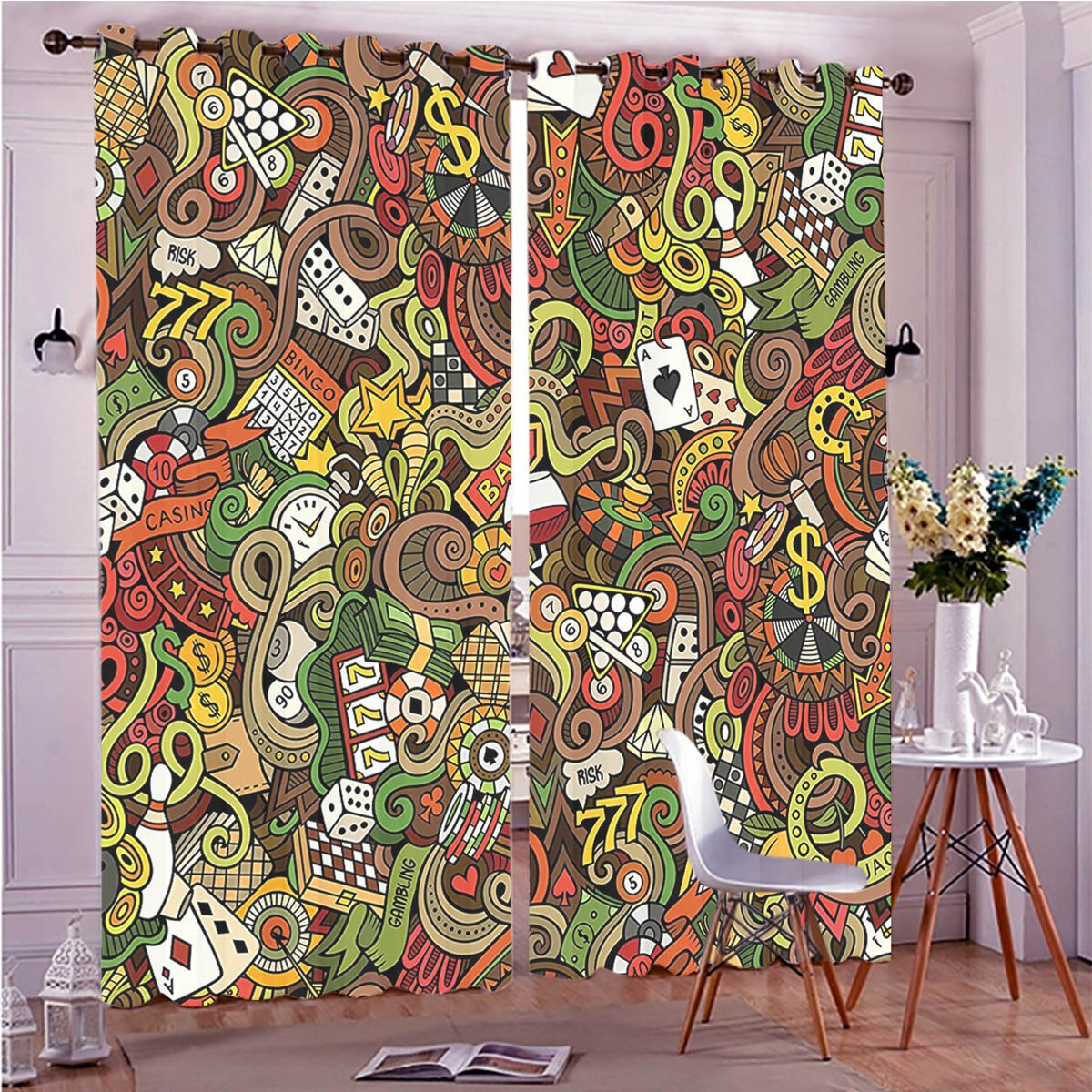 Two Panel Set Window Curtain Casino Decorations Doodles Style Art Bingo Excitement Checkers King Tambourine Vegas Polyester Window Treatments For Bedroom Diningroom Livingroom Dorm, 108'' Wx108 L by LcHzz2