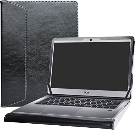 Black Heavy Duty Leather Protective Case Compatible with The Acer Swift 3 Contour Series /14 SF314-42 Broonel