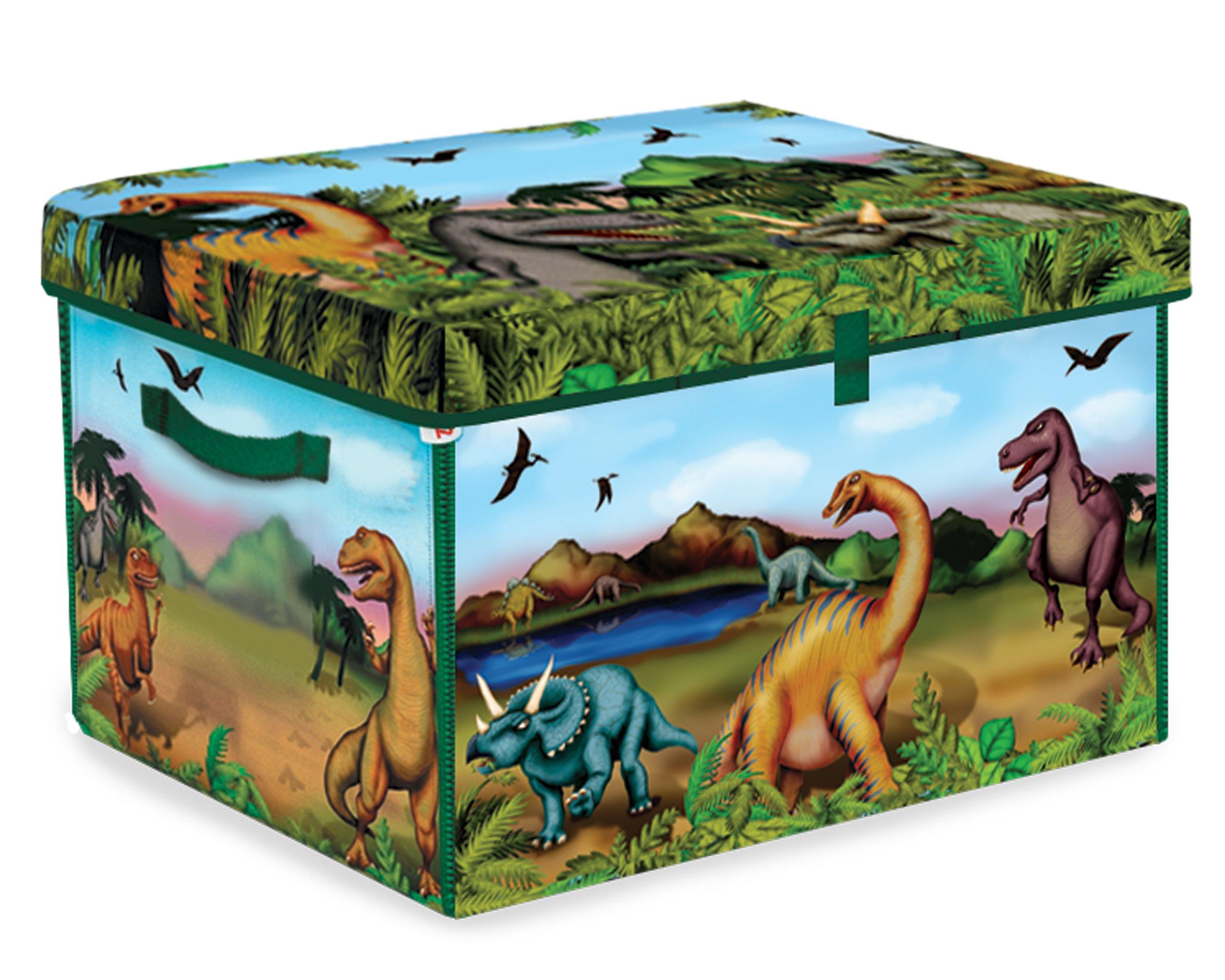 ZipBin 160 Dinosaur Collector Toy Box & Play set w/2 Dinosaurs