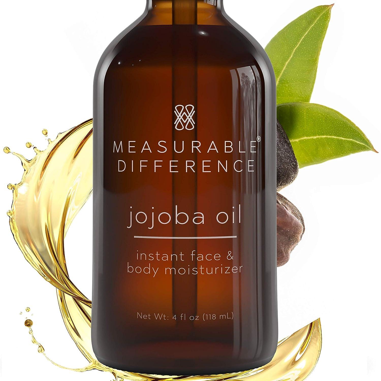Measurable Difference Jojoba Oil - Hydrating Face Oil for All Skin Types - Brightening Moisturizing Jojoba Oil for Face and Body - 4oz