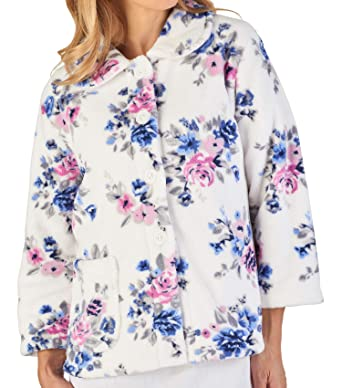 Slenderella Ladies Floral Bed Jacket Soft Coral Fleece Button Up Housecoat  (Small - XXL)  Amazon.co.uk  Clothing c247a1c47