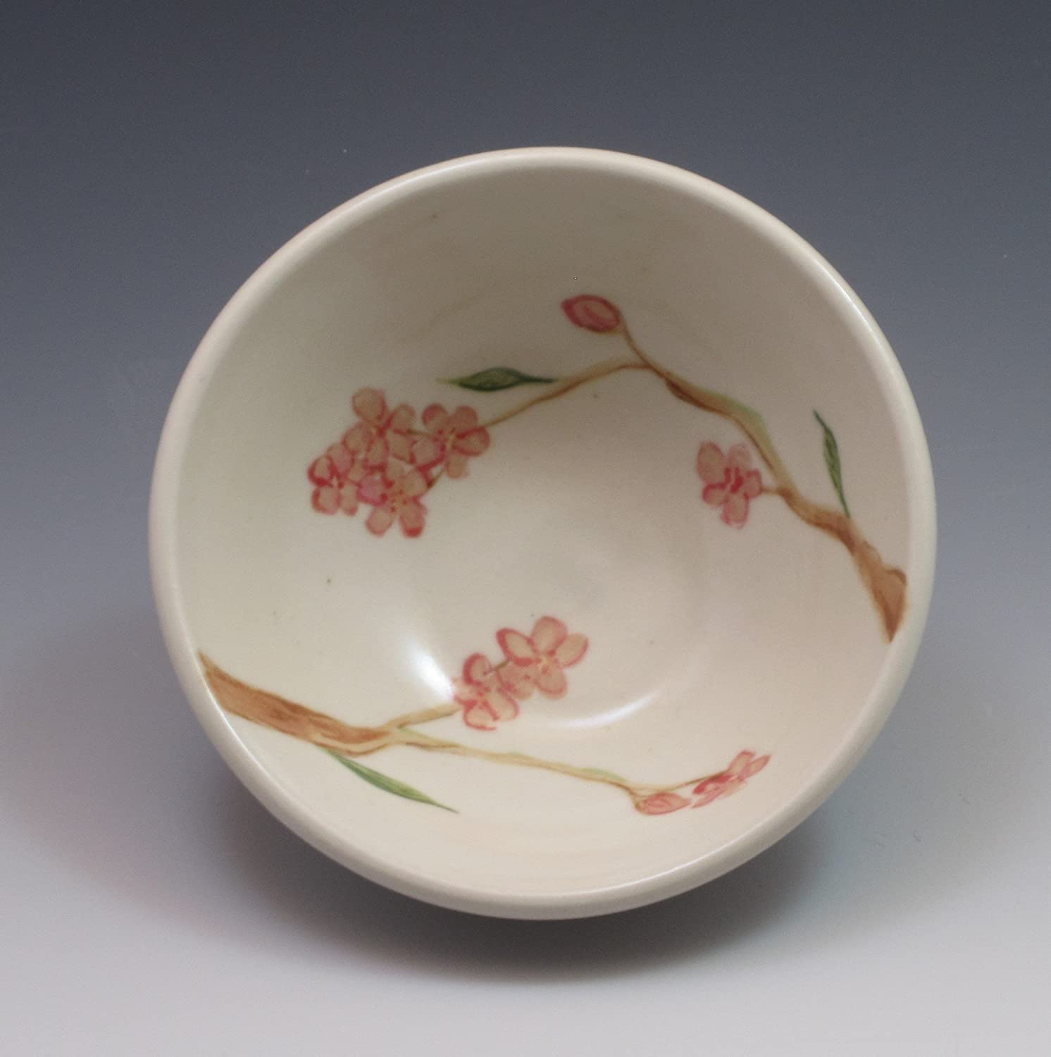 Small porcelain bowl, hand thrown and hand painted in cherry blossom pattern