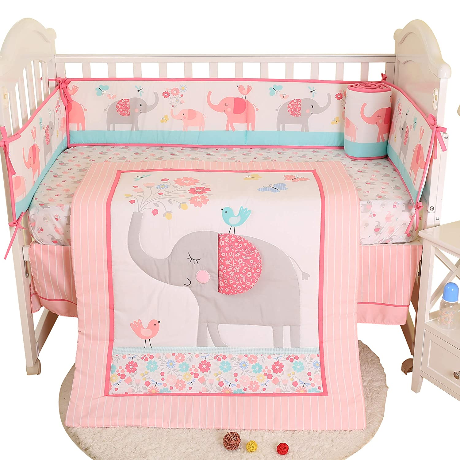 Brandream Crib Bedding Sets for Girls with Bumper Pads Butterfly Birds Floral Elephant Baby Nursery Bedding Sets,7pcs