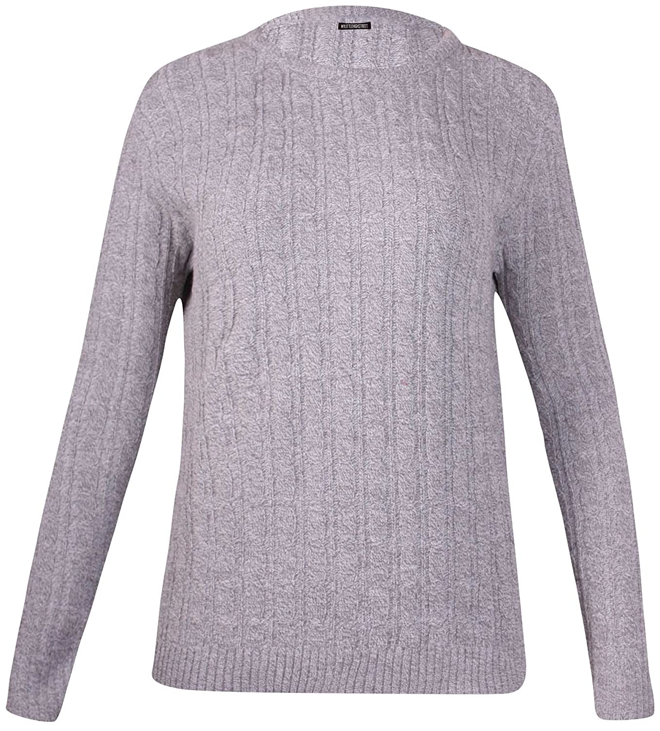 PurpleHanger Women's Plus Size Cable Knitted Jumper Sweater Top