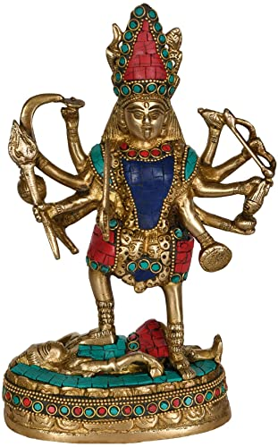Aone India Large Maa Kali Brass Statue Hindu Religious Goddess Devi Idol-Indian Deity Handmade Sculptures Cash Envelope Pack of 10