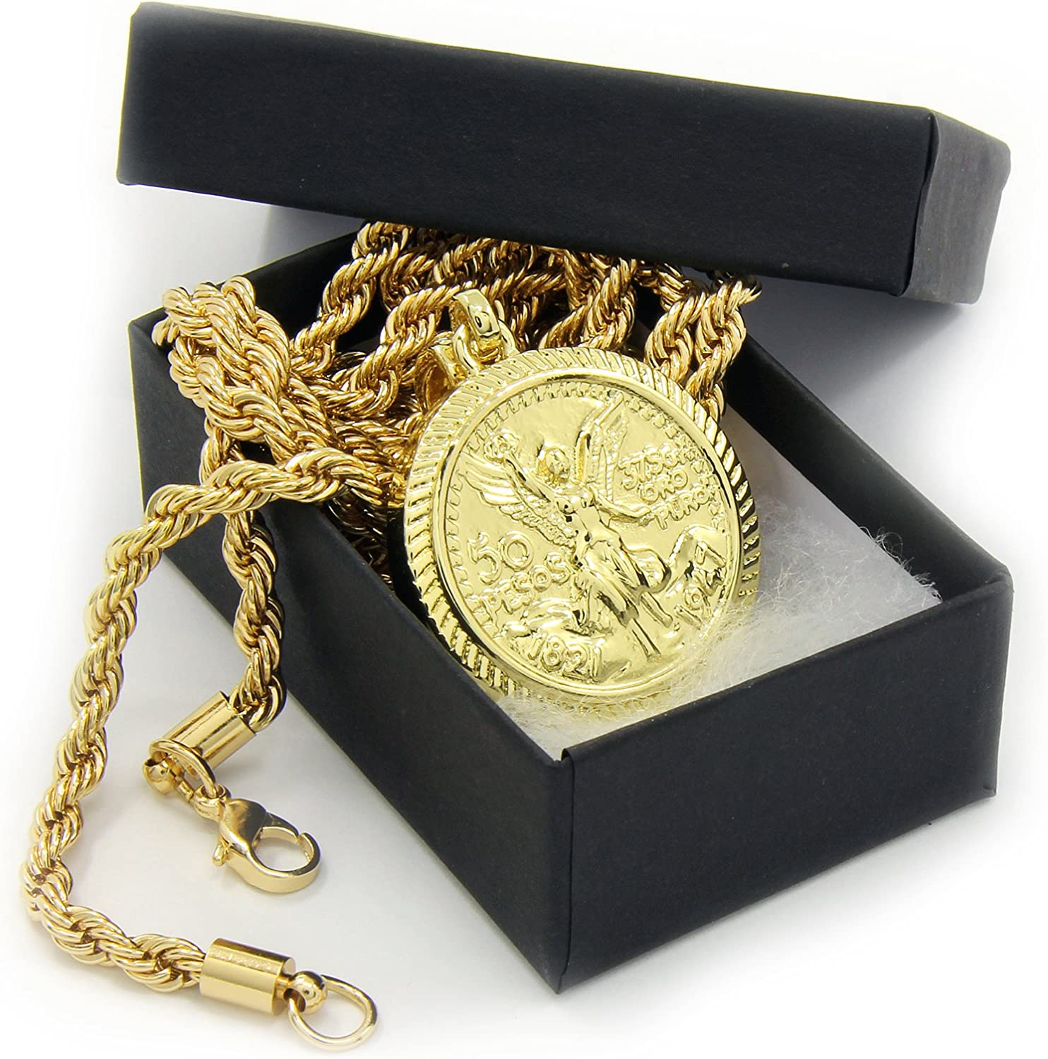 """Details about  /14k Gold Plated Hip Hop 50 Mexican Pesos Pendant 4mm 24/"""" Franco Chain Necklace"""