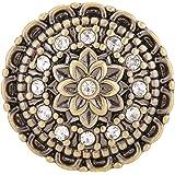Morella® Damen Click-Button Druckknopf Blumen Muster messingfarben mit Zirkoniasteinen weiß