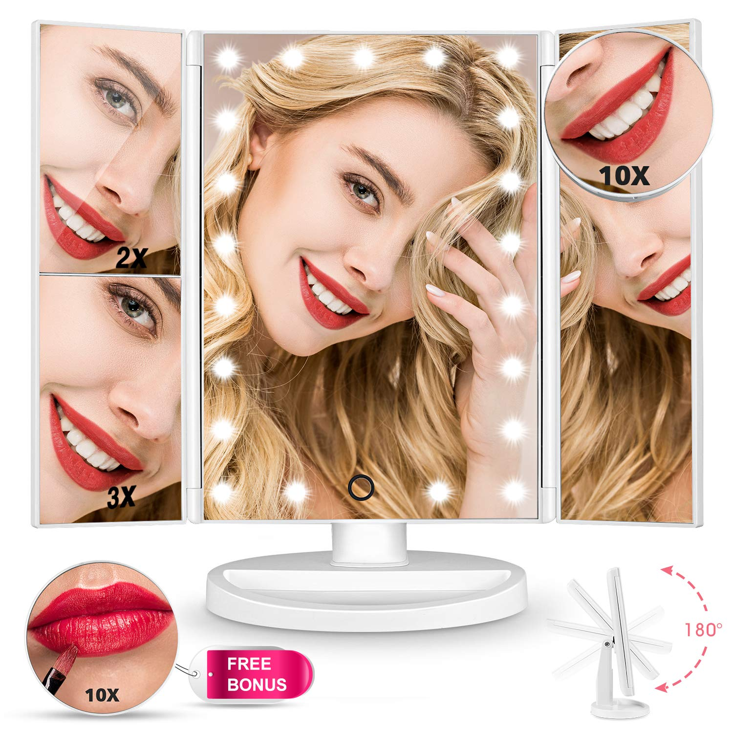 Upgrade Version Makeup Mirror 180 Trifold LED Vanity Mirror Adjustable Touch Screen Cosmetic Mirror with LED Lights Lighted Makeup Mirror with 4 Magnification 1X 2X 3X 10X Mirrors