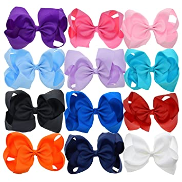 Amazon.com  LCLHB Trendy Big Hair Bows With Oversized Ribbon ... 91c8035eb0