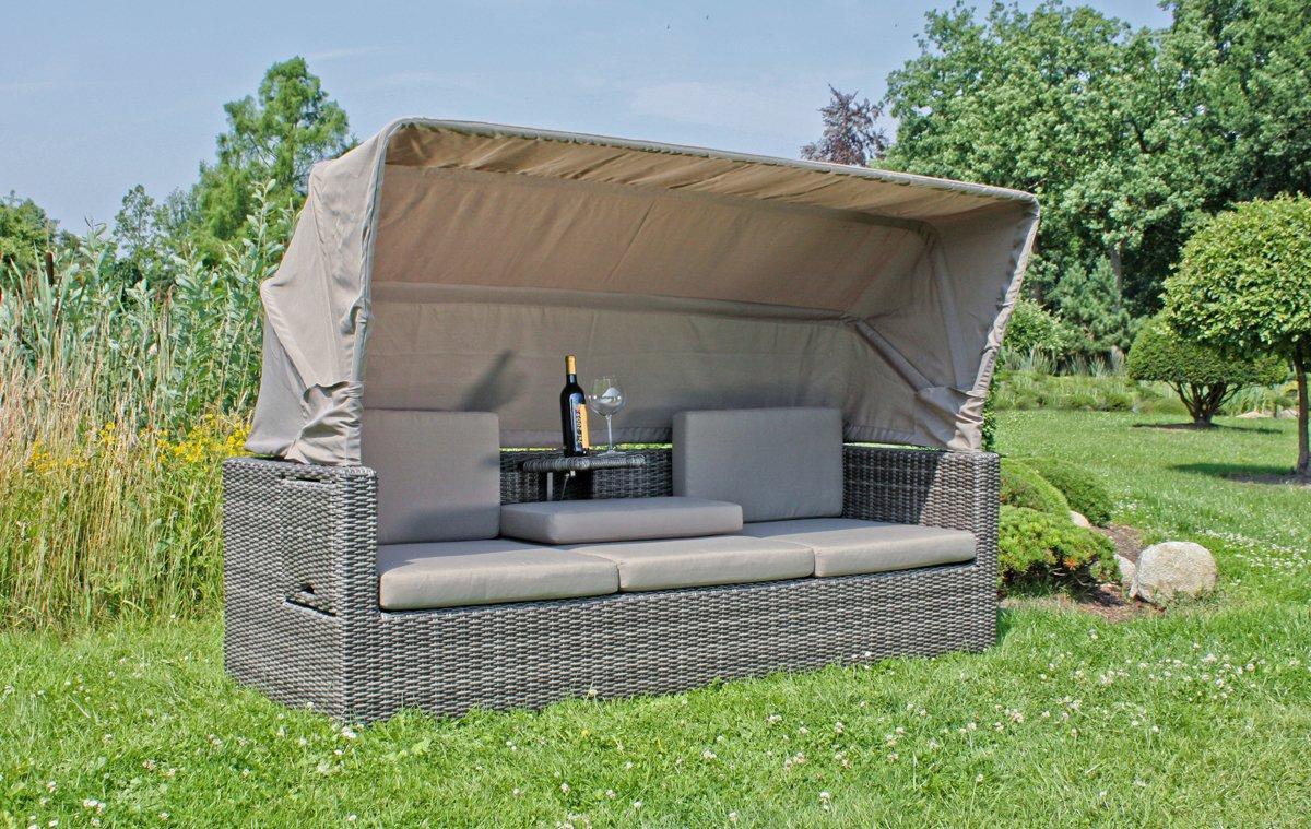 Lounge-Sofa Multifunktions-Sofa mit Sonnendach aus dunkelgrauem Kunststoffgeflecht mit Aluminium Gartensofa Lounge-Sofa 3-Sitzer